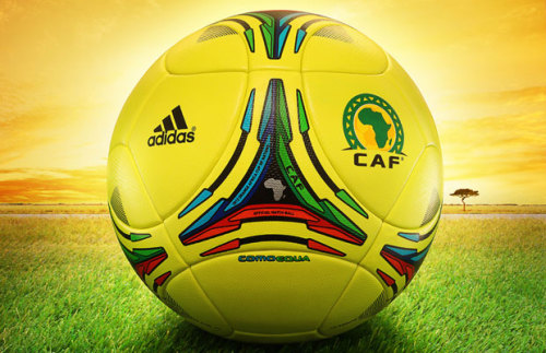 "The Official Match Ball For The African Cup of Nations by Adidas The newly unveiled ""Comoequa"" ball, features the same construction as the adidas Tango 12 fueling games at EURO 2012, there are distinct design cues grounding the ball in the African tournament. Taking from the Como River, which runs through host nations Gabon and Equatorial Guinea, the ""Comoequa"" features both nation's flags in the central triangular portions."