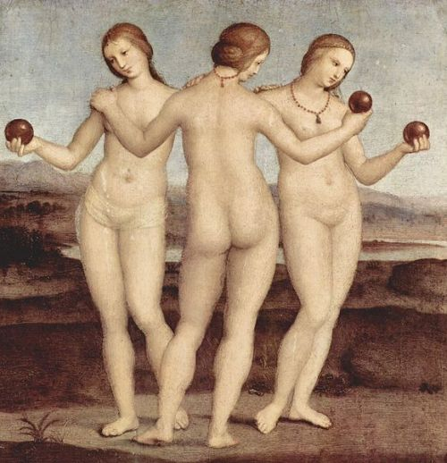 The Three Graces by Raphael, 1504. This work of the High Renaissance is easily one of my favourite paintings of all time. The composition is absolutely fascinating to examine, especially the creation of balance despite it being an odd number of figures. I also love the colour scheme and the way the deep red ochre of the apples illuminates the graces' skin with a pearly sheen.