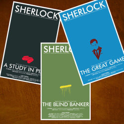 "Check out the 11x17 poster collection from the modern retelling of the great Sherlock Holmes. Each poster is a great art piece representing each episode from the new series. These iconic images from the series tell the story in a minimalistic fashion; the pills from ""A study in Pink"", the graffiti from The Blind Banker"", and an illustration of Moriarty from ""The Great Game""."