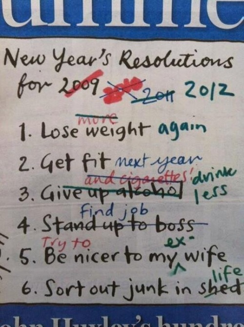 ..this is why I hate New Year's resolutions.. Are you one those people that have the same resolutions every year? Why? Stop talking or writing about doing it and just do it. There's no better time to start than right now. Not tomorrow, not next week. Today. Yes, it will be hard. No, it will not always be fun, but damnit you're starting the process to bettering your life and accomplishing things that are important to you. Stop waiting and start doing.