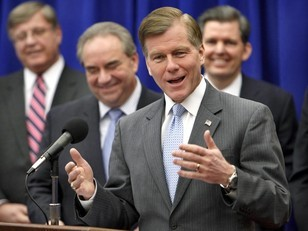 Caption Contest #12 — What do Virginia Gov. Bob McDonnell, Lt. Gov. Bill Bolling, and the other gents find so dang funny?  (Submit answers via the comments section or by email to bhinkle@timesdispatch.com.)