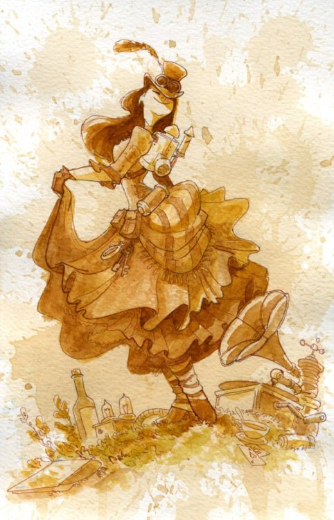 "steampunkd:  ""Happiness"" by Brian Kesinger One of my latest ""Tea Girls"". Hand inked and painted with tea."