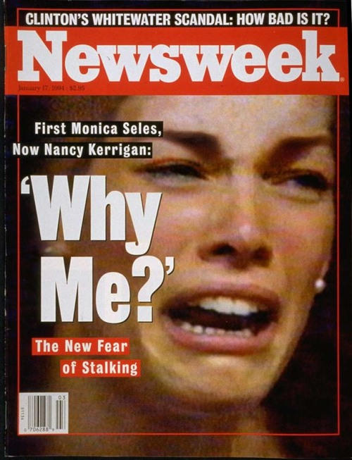 "nwkarchivist:  Nancy Kerrigan Clubbed On The Knee Today In 1994  What is the sound of one dream breaking? For Dan Kerrigan, a plain-spoken,  loving father, it was the agonizing screams of his daughter Nancy echoing down  the hallway of Detroit's Cobo Hall. Leaving the side of his legally blind wife,  Brenda, he pushed through bewildered spectators, scooped Nancy up in his  powerful welder's arms and headed for help. For one still-anonymous predator, it  was the sound of glass splintering. Dressed in a black hat and leather jacket,  he snuck up behind America's foremost female figure skater, swung a metal rod at  her elegant, powerful right leg, then ran. Facing locked doors, he smashed  through the plexiglass that blocked his desperate retreat and fled into the  afternoon. For Nancy Kerrigan, it was the sound of her own voice.  Racked with fear and pain, her beauty distorted as she watched a life's work  perhaps ruined in a flash of brutality, she heard herself sob, ""Why me? Why me?"" Re-live it here  Newsweek January 17, 1994  Ladies and gentleman, Newsweek's archives."