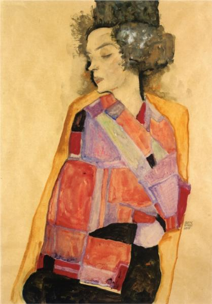 paperimages:  Egon Schiele, The Daydreamer (Gerti Schiele), 1911