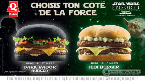 Darth Vader and Jedi Hamburgers at Quick in France