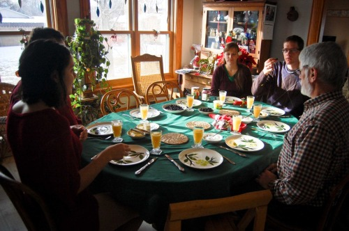 awaiting german pancakes, christmas morning.