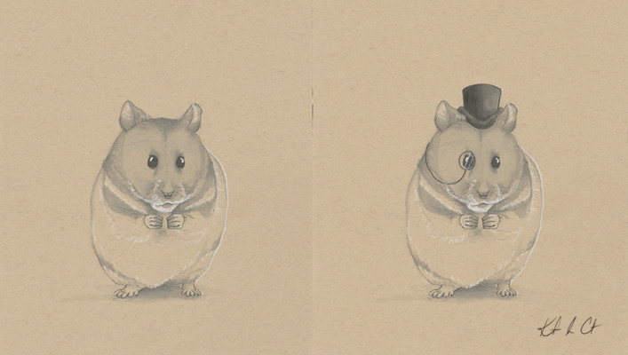 Handsome Hamster Buy the original! http://www.etsy.com/shop/Randemporium  (Pen and Marker)