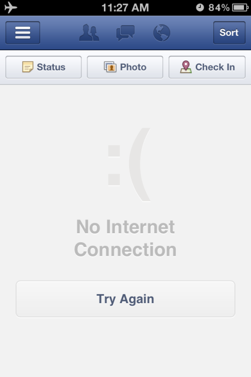 "Here's the ""connection error"" message for Facebook's iPhone app. Text emoticons will always be hilarious because they're so stupid. It's the irony of lifeless punctuation marks being used to display deep emotions. This will always be funny to me. As long as it's followed by an ASCII sad face, you could tell me that I can't check my friends' news feed, or that have a tapeworm infection. So congratulations, Facebook! I'm sad that I can't check you right now, but I'll get over it ;-)"