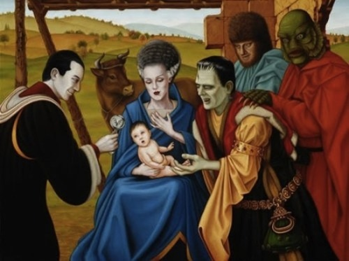 Monster Nativity Scene     (And cow.)