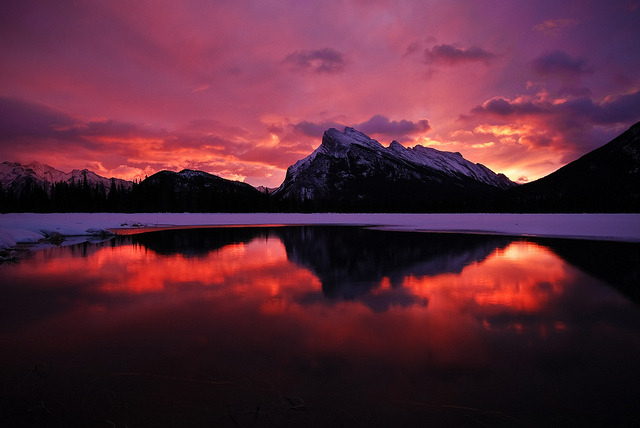 Vermilion Lakes Sunrise on Flickr.This is my favorite shot and it was purely luck. I went here only because my friend wanted to try out his new camera. I didn't have any expectations, but I set up my camera as well and this was the result.