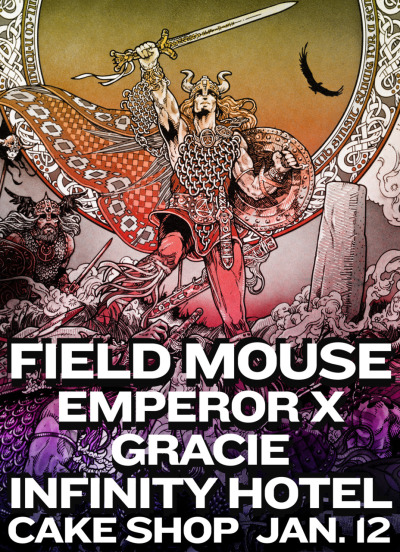 Small Plates Records' Field Mouse and Gracie join Emperor X and Infinity Hotel for a night at the Cake Shop in Manhattan. Thursday, Jan 12. RSVP + Info