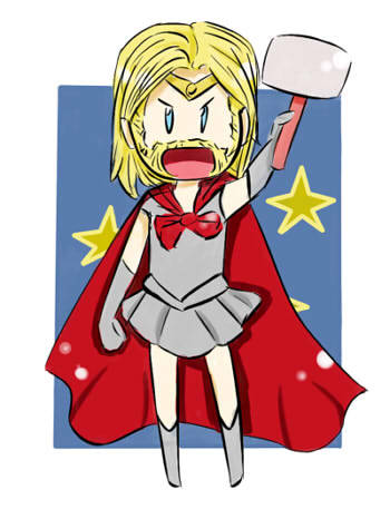 hamburgerjack:  jacquelineofalltrades:  jesic:   Mahou Shounen Thor, by Kalinina Germanovna  Yes. In desperate need of this.  FIGHTING EVIL BY MOONLIGHT~  MOON MJOLNIR MAGIC MAKE UP!!!!  I can't… *rolls on the floor*