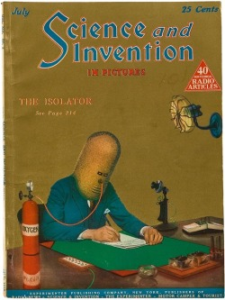 "Another image of the Isolator, invented by Hugo Gernsback, the publisher of Amazing Stories, the United States' first science fiction magazine. The similarity between this 1925 image and subsequent cyber fantasies of ""jacking in"" to infospaces is striking. By blocking out external sound and limiting vision to just one line of text at a time, the writer could fully immerse himself in the flow of information."
