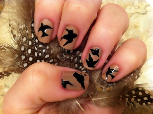 "fuckyeahnailart:  bedazzlethatshit:  ""Birds are a miracle because they prove to us there is a finer, simpler state of being which we may strive to attain."" Doug Coupland My feather post from yesterday really inspired me. I went back to the feathers and this design is what came to mind. I used Butter London's Yummy Mummy as a base color and OPI's Onyx for the silhouettes. I used a 3/0 Round Watercolor brush and my Orly Detailer with a coat of Seche Vite on top. I'm simply in love with this design.   Reminds me of the Miu Miu birds! And extra bonus points for the Douglas Coupland."