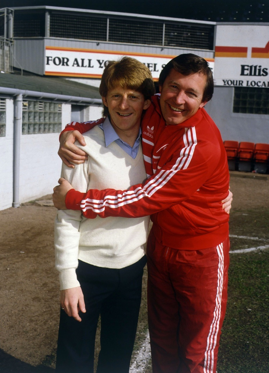Alex Ferguson and Gordon Strachan, 1985.