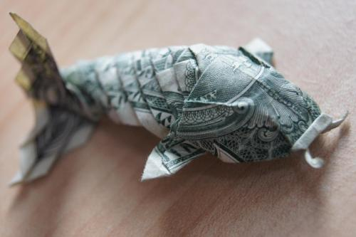 I made another dollar koi the other day. This time I took a picture of the underside too. Designed by Won Park.