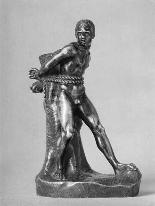 Pierre Puget, Standing Figure of a Young, Nude Black Slave Bound by Ropes to a Tree Trunk, c. 1670-80