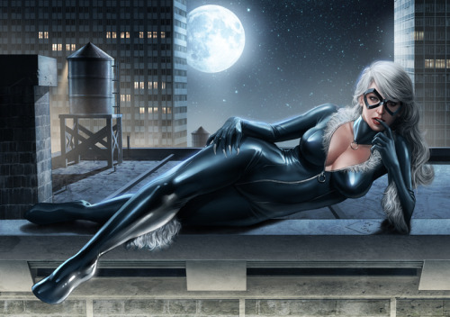 noahbodie:  Black Cat collaborative commission from Admira Wijaya and Casey Heying.  Pencils and lines by her, colored by him.  You just don't give up do you, Cat? I bet this was for my benefit to make MJ jealous?