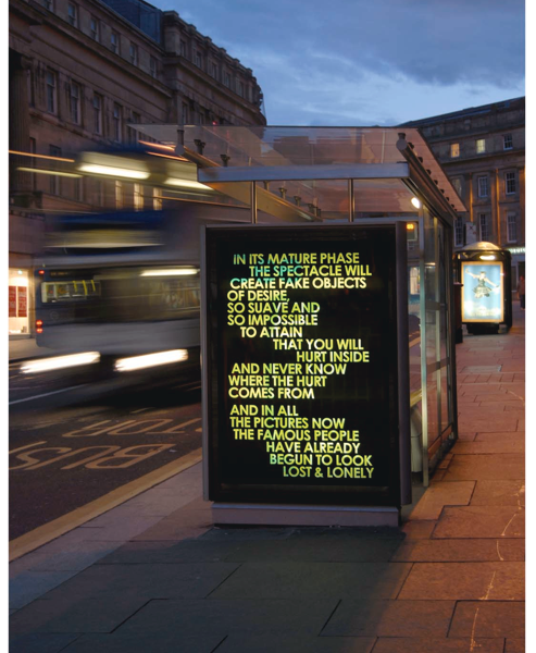 "versetheory:  Robert Montgomery From his WORDS IN THE CITY AT NIGHT project "" His texts are part poetry, part an enquiry into our collective unconscious. They are intended to be encountered by commuters who don't know they are art, and an attempt to describe in public space what it feels like to live now."" - (from artist's bio)"