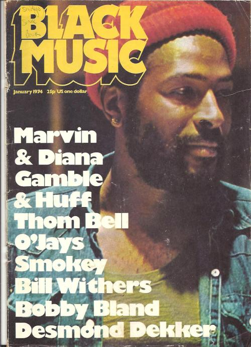 superseventies:  Marvin Gaye on the cover of Black Music, January 1974.