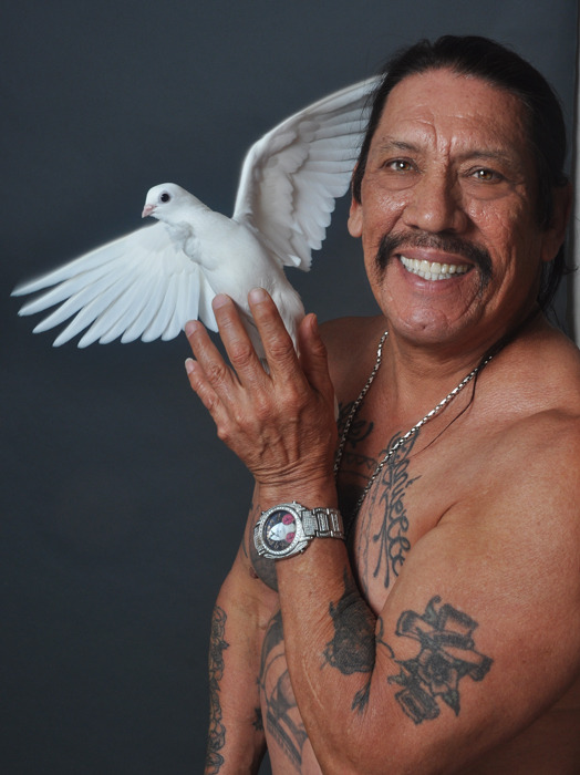 Danny Trejo and a dove? Instant reblog! haha   BAM