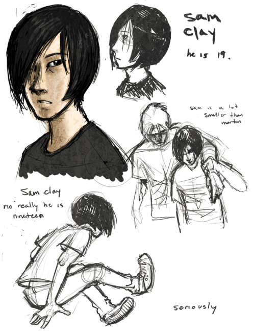 filename: fuck-if-i-know.png sketches i can do anything except sketches and concepts and sketches nothing but sketches. sam clay's name is so boring i love it. and he is such a dinky guy compared to martin  i won't tl;dr anyone about my dumb webcomic that has no name but one day it will start.