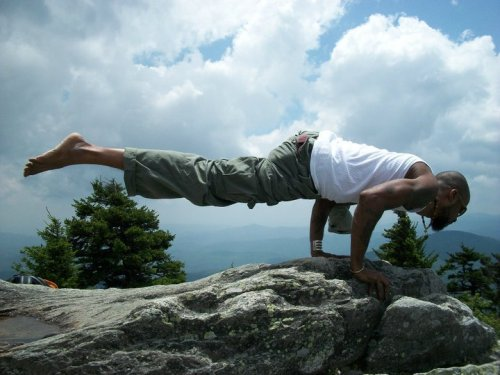 "blackyogis:  Side Crow   Parsva Bakasan Jonathan Miles ""Martial artist, yogi, community activist, father, and the son of a preacher, Jonathan Miles is the co-founder of Project Yoga Richmond in RVA."" http://projectyogarichmond.org"