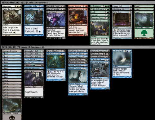 Innistrad Draft (8-4), 5/1/2012 My deck after pack one was looking to be a bit of a crap blue/black monstrocity, so I just decided to go all in on mill. I picked a Curse of the Bloody Tome P2P1, so let it never be said that I am not committed. Anyway this deck sucked and I made terrible mulliganning decisions in my first match (didn't mull a five-lander or a one-lander) so I was put out of my misery pretty quickly.