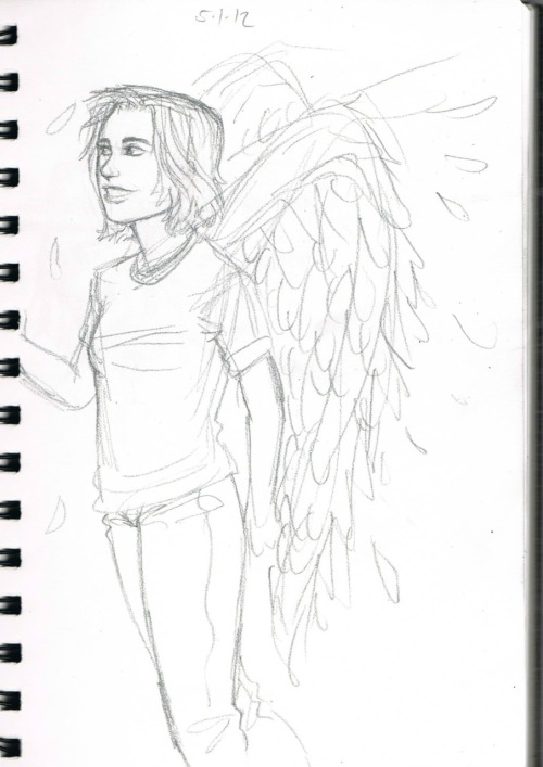 may12324:  its a girl with angel wings,tehehehe,just a sketch in my lil sketchbook :D  asdfghjklñ