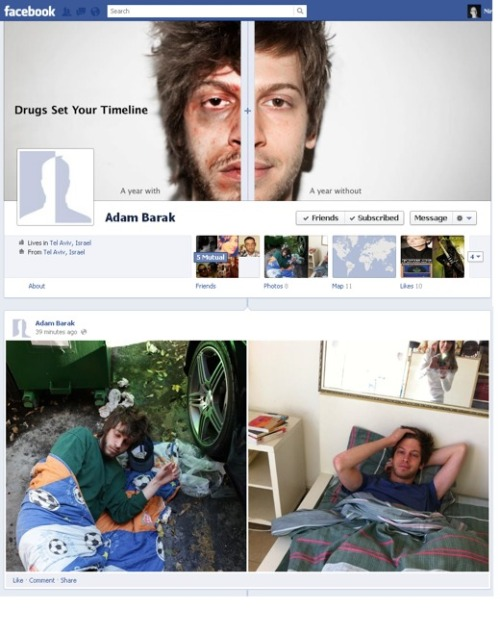 Facebook Timeline cleverly used to promote an anti-drugs message.