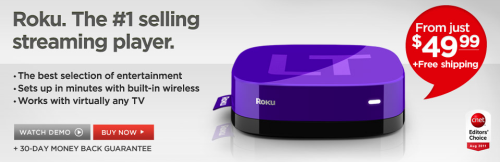 Roku LT: The important thing is that it is purple, and the Apple TV isn't purple, so it therefore doesn't look like an Apple TV. Now if you'll excuse me, I'm off to watch Kimba The White Lion on my Roku, thus making pop eat itself.