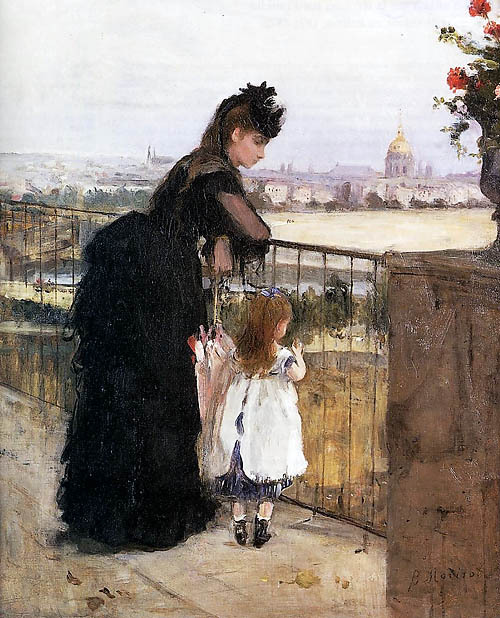 poboh: 1872 Berthe Morisot (French Impressionist, 1841-95) ~ On the Balcony
