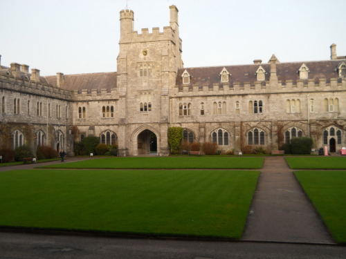 This is my favorite part of campus, the Quadrangle. It is actually bad luck to walk across the Quad, and if you walk on the seal that is under the archway, you will become pregnant.