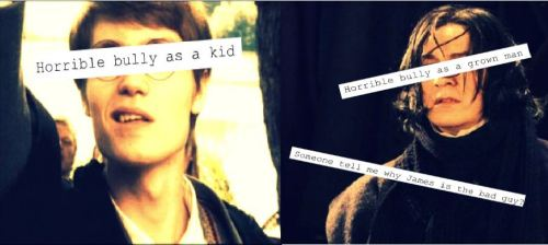 "attic-afternoon:  harrypotterconfessions:  I am going to get hate for this, aren't I? I know he did some wonderful things, it's not a question of why Snape's a favourite character in the fandom, rather why James is so hated. There's a double standard and it gets on my nerves. graphic submitted.  A lot of people I know love James and don't judge him for that, but this is exactly what I want to point out to people who /do/ love Snape and vilify James cough my ex-boyfriend cough.  James was an asshole and grew out of it (evidenced by Lily's love and acceptance of him after years [fanon ideal recognized] of denying him or hating him or or or). And then he died. Snape, in my head canon, was an angsty, lonely teenage boy who pulled his Dick Card (calling Lily a mudblood) and his I'm-Your-Best-Friend-Until-I-Realize-That-I-Have-Been-Completely-Friend-Zoned-And-Have-Always-Been-In-Said-Zone Card (even though he was, presumably, always only her friend in her eyes). He hated James, missed Lily, and his angst went into bullying Harry. What makes Snape one of the greatest characters is his oh my god don't use the word ""depth"" …everything about him. He's dimensional. Interested in Dark Arts. Bullied in school. Bully as an adult. Double Agent. Would have stayed on Voldemort's side had Lily lived (or so I assume, I could be wrong, but…). Protected her son — who was half-James, the person Snape hated — because he always loved her. I love James. I love Snape. So. Yes."
