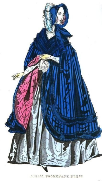 Cabinet des Modes, December 1841.  What a beautiful explosion of blue!  That cloak is stunning, and I love the pink lining!