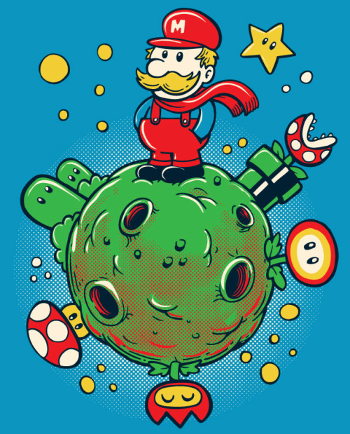 justinrampage:  Super Mario Galaxy and The Little Prince (book) get their similar looks combined into one solid shirt design by Sassa Cartum. You can vote a 5 over at Threadless to see it print! Le Petit Plombier by Sassá Cartum (Flickr) (Facebook) (Twitter) Submitted by: sassatattoo