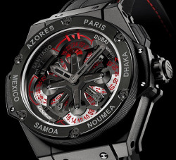 thekingswatchery:  Hublot King Power Unico GMT watch (has  24 time zones on its dial)