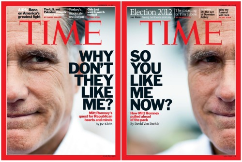 cheatsheet:  timemagazine:  This week's cover might feel a little familiar.  The latest issue of TIME (on the right) hits newsstands Friday. Its predecessor (on the left) was released last month.    Entrance music suggestion!  Sorry, we're not impressed because of the lack of absolute symmetry.