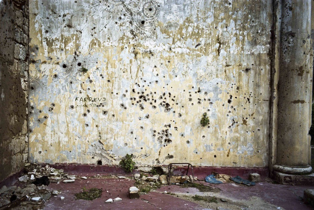 Bullet holes in Jaffna Fort, Sri Lanka, 2010. Built by the Portuguese in 1618, the fort was the scene of pitched battles during the civil war. From 1986 to 1995 it was under the control of the LTTE and was recaptured by the Sri Lankan Army in 1995 after a 50-day siege.