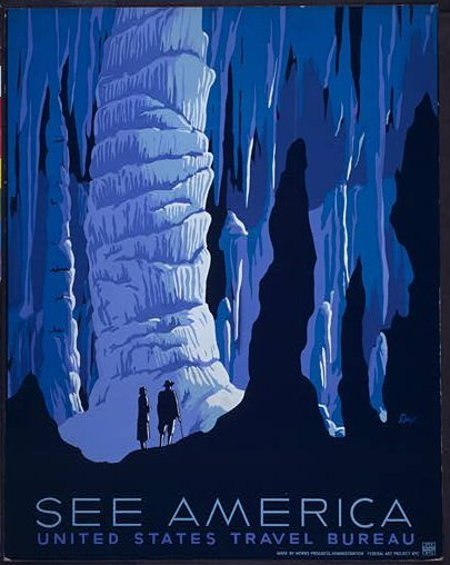 Image description: This poster for the United States Travel Bureau promotes tourism. It was released in June 1938 as part of the Works Progress Administration (WPA) Federal Art Project. View more WPA posters. Image from the Library of Congress