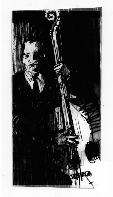 tommy potter _ upright bass drawing by côme debray