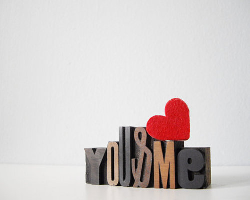 Romantic vintage typography set: You & Me letterpress type // thecupcakekid.etsy.com