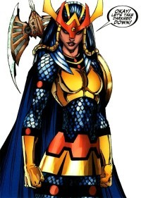 BIG BARDA Publisher: DC Comics  First appearance: Mister Miracle #4 (October 1971)  Created by: Jack Kirby (writer & artist)  Alter ego: Barda Free  Species: New God  Place of origin: Apokolips  Team affiliations: New Gods Justice League Female Furies Birds of Prey  Abilities: Super Strength, Super Endurance, Super Movement, Energy Manipulation, Immortality Carries a Mega-Rod & Aero-Disks