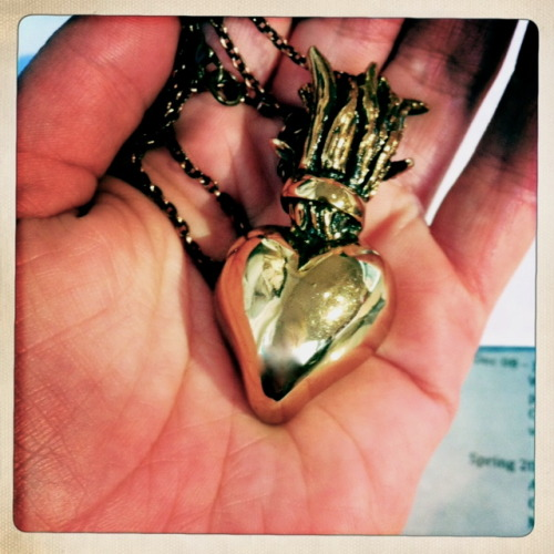 Want this necklace? TeenVogue is hosting a giveaway today on their FB page. See details here: http://www.facebook.com/teenvogue?sk=app_166453963450910  Antique Bronze Sacred Heart Necklace by Pamela Love