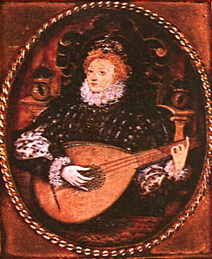 Elizabeth playing the lute. Painted by Nicholas Hilliard c. 1580  The Bridgeman Art Library, London