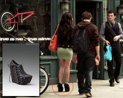 fashionofpll:  I'm not 100% sure these are Aria's booties but they are the exact brand.  Jeffrey Campbell - Zup Lace up Wedge - $132.00