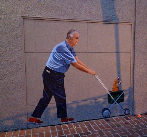 Week 1: Painting on the side of Restoration Hardware in downtown Palo Alto. At first I thought it was a mail carrier since it is next to a blue postal box. Then I saw the alien.