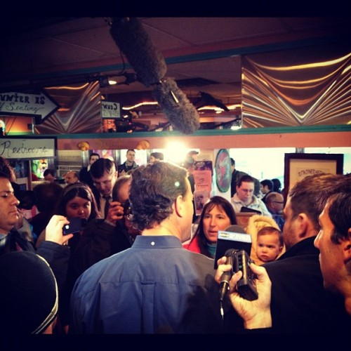 Rick Santorum and A MILLION reporters in Tilton NH (Taken with instagram)