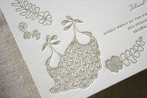 (via things are better with a parrott: Peacock Letterpress Wedding Suite)
