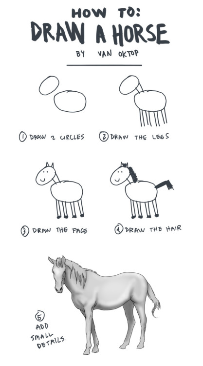 oktop:  How to draw a horse by Van Oktop.